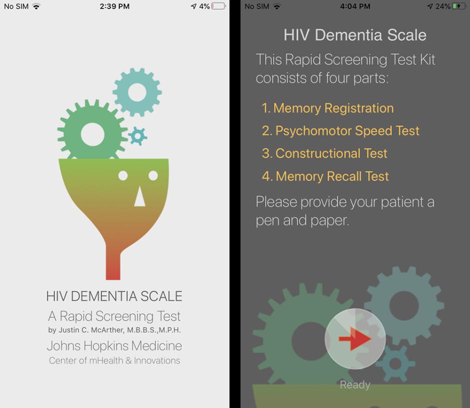 Screenshot of HIV DEMENTIA TestKit Introduction